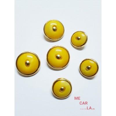 Botón fantasía amarillo matizado y dorado