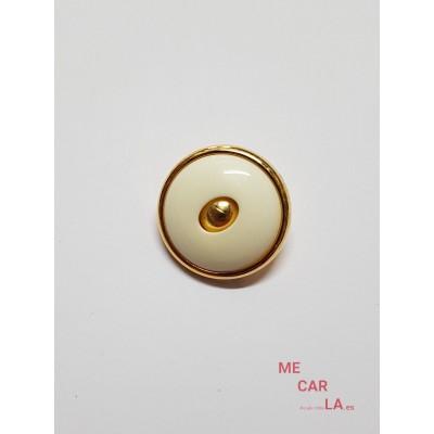 Botón fantasía blanco roto matizado y dorado