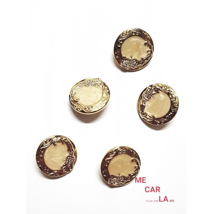 Botón fantasía marfil matizado y dorado