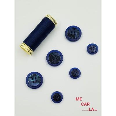Botón clásico azul marino matizado