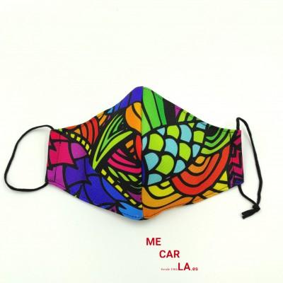 Mascarilla de tela reutilizable con Filtro Tritex Hojas Multicolor