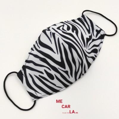 Mascarilla homologada de tela reutilizable Estampado Cebra