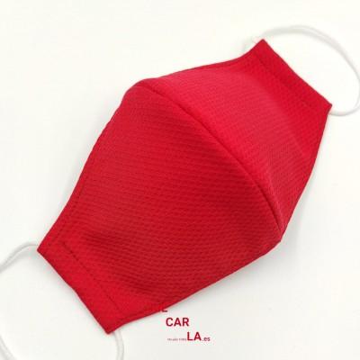 Mascarilla homologada de tela Piqué Rojo