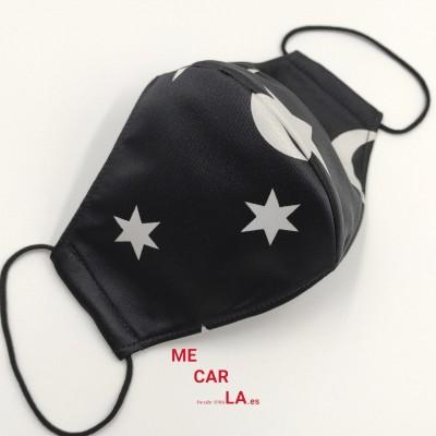 Mascarilla de tela reutilizable Estampado Estrellas